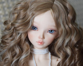 "Charming long wig from alpaca ""Cappuccino."" Size 6-7 (17-18 cm)"