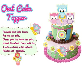 Printable Owl Cake Topper,Spring Time Owls,Owl Party,Owl Baby Shower