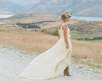 "SAMPLE SALE! ""Lucy"" Silk Chiffon Pleated Wedding Dress in Pale Gold, Size 8"