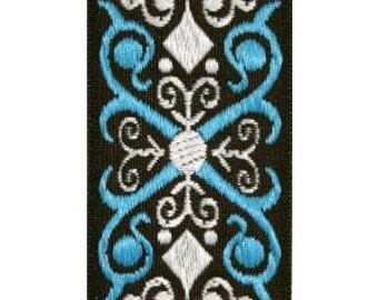 Brown, Blue, and White Scroll Jacquard (04-112-SC-098)