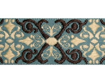 Teal, Ivory, and Brown Scroll Jacquard (04-112-SC-103)