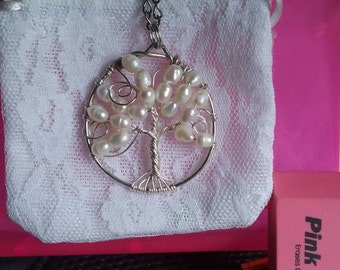 White Pearl Tree of Life Pendant