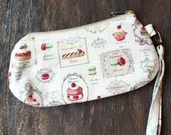 Paris pastry wristlet zippered pouch