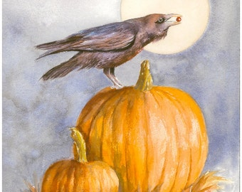 Fall/Halloween Greeting/Note Card Set of 6-Print of Original Watercolor Painting