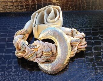 Carolyn Tanner Designs Belt, Knotted Crescent Buckle w/Adjustable Strap, Tan & Champagne Color
