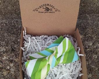 Men's Lime Green Striped Bowtie