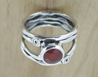 92.5 Sterling Silver Rings - Red Onyx