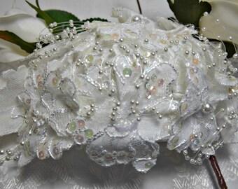 VICTORIAN headpiece,  JULIET headpiece,  juliet cap,  victorian bridal headpiece white lace beaded pearl sequined bridal victorian headpiece