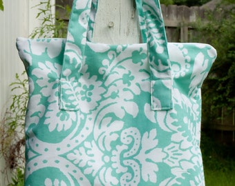 Light Teal Canvas Shoulder Bag