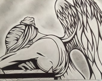 Beautiful angel drawing