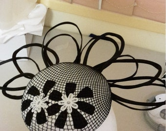 Black and White Fascinator