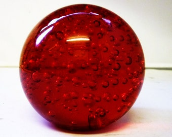 Ruby Red Bubble Paperweight