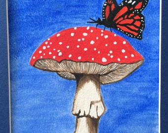 Toadstool with butterfly