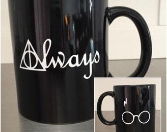 Harry Potter Deathly Hallows Always Coffee Mug, Glasses, Lightning Bolt Scar