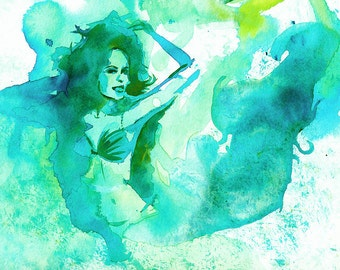 Displays watercolor 'Mermaid'
