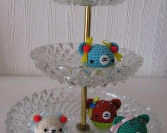 Cupbear, cupcake muffin bear, bear, Amigurumi decoration housing