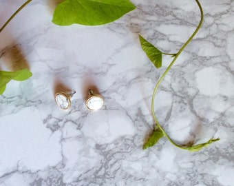 Earring, minimalist, marble, Cube/Triangle ear jewelry,