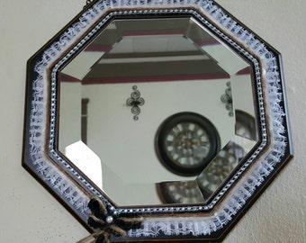 hexagon mirror beautiful lace mirror rustic chic mirror cute decorative mirror chic - Decorative Mirror