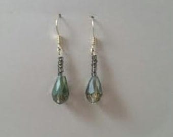 Green Teardrop Dangle earrings
