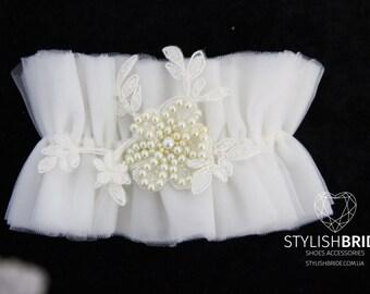 Wedding garter tulle, tulle Wedding garter, bridal garter, tulle garter, bridal garters, ivory Tulle Bridal Garter, Tulle Bridal Garter