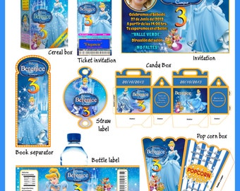 Cinderella Party Package, DIY, Printable Party Kit, Invitations, Banner, Favour Box, Labels, Wrappers, Candy Box, Instant Download !