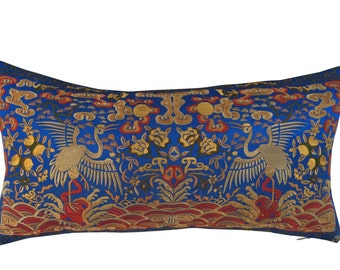 Silk Embroidered Chinoiserie Boudoir Pillow