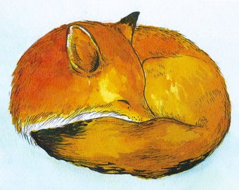 Sleeping Fox Print