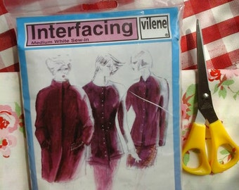 Interfacing~vilene interfacing~medium interfacing~medium white interfacing~haberdashery~sewing supplies~sew in interfacing~vilene~sewing