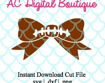 Football Bow Digital Cut File--Instant Download--SVG, DXF, PNG Files for Cutting Machine Software