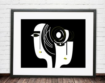 The Couple : Graphic modern faces black and white geometric semi abstract art print
