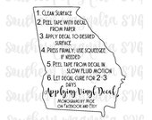 Vinyl Application Instructions - Print and Cut File - Silhouette - Cricut - Care Instructions - SVG - Design - File ONLY