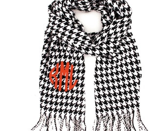 Embroidered knit Cashmere feel Scarf - Houndstooth