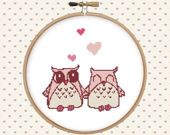 Love owl cross stitch pattern pdf - instant download - cute cross stitch pattern - easy cross stitch pattern - bird cross stitch