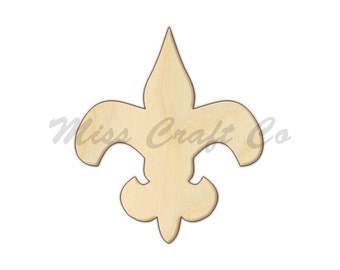 Fleur De Lis Wood Craft Shape, Unfinished Wood, DIY Project. All Sizes Available, Small to Big