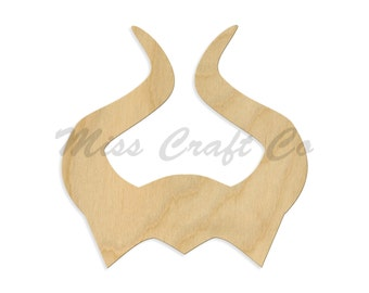 Maleficent Horns Wood Craft Shape, Unfinished Wood, DIY Project. All Sizes Available, Small to Big