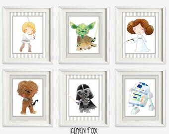 Starwars wall art - starwars nursery art - kids wall art - Nursery Decor - starwars wall prints -starwars wall decor