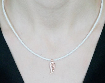 Necklaces-angel wings necklace-rose gold-pearl white-natural stone-beaded necklace-925 silver -mother's day-white zircon