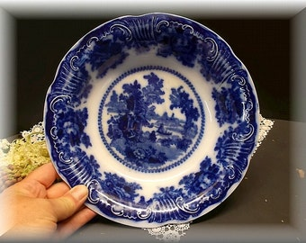 Vintage 1800's Flow Blue Bowl, Fairy Villas Pattern.Manufactured by W. Adams English   Co. Home and Living,  Flow Blue  Stoneware