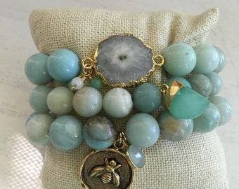 Amazonite bracelet stack