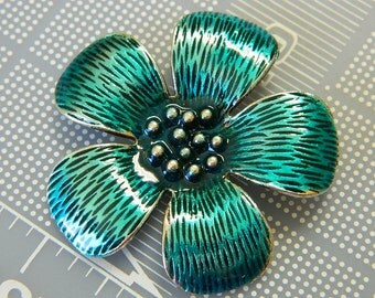 Aqua Metal & Enamel Flower Pendant -  Very Cute Aqua Blue Flower Enameled Pendant