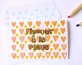 Handprinted greeting card//L'Amour à la Plage//orange hearts