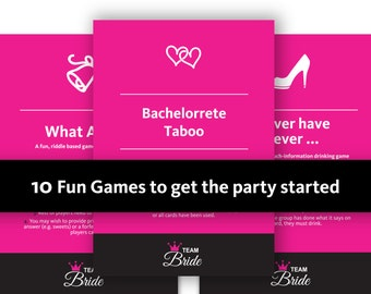 10 Bachelorette Party Games - Hen Night game, Instant Download, printable hen party games hens do games, Bachelorette Party, Hen Party Games