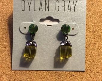 Purple and Green Drop Earrings
