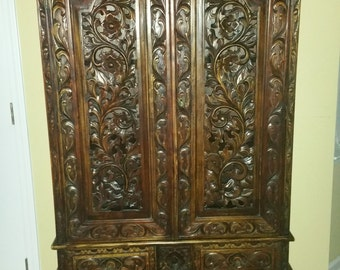 Gorgeous Hand Carved Armoire