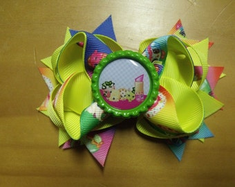 "Shopkins Handmade Boutique Layered Hair Bow 4.5"" Yellow Rainbow Color - Girls - Alligator Hair Clip"