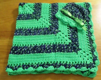 NEW Handmade Crochet Baby Blanket and Hat/Beanie Set - Colors Green & Purple Striped - A Wonderful Baby Shower Gift!! - SEE NOTE!