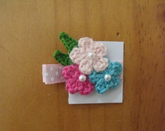 Handmade Boutique Double Prong Lined Alligator Hair Clip - Crochet Flowers - Pink, Blue, Hot Pink w/polka dot ribbon