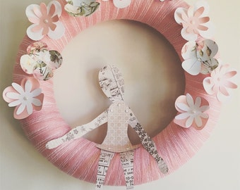 Paper, Flower, Wreath, Paper Dolly, Doll, Paper Flowers, Ribbon, Pink, Buttons