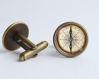 Compass cufflinks Boyfriend gift Cufflinks compass Men accessories Men jewelry Husband gift Cuff links Traveler gift Cufflinks for men