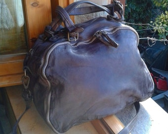 Vintage leather bowling bag-vintage leather bag
